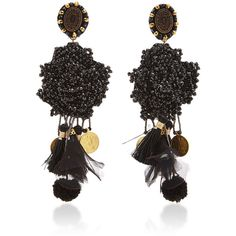 Ranjana Khan Black Crystal Earrings (6.474.265 IDR) ❤ liked on Polyvore featuring jewelry, earrings, black, ranjana khan, crystal stone jewelry, floral earrings, crystal jewellery and ranjana khan earrings
