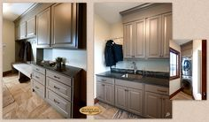 Cabinets: Showplace cabinetry in Mid Greige is used in a mud room and laundry room