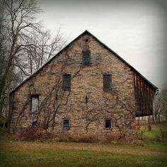 gorgeous abandoned stone bank barn Central Pennsylvania -  Cool watercolor art to see here http://art-watercolor.com/