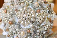 Deposit on a champagne pearl brooch bouquet--made to order bridal bouquet -$155.00