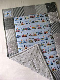 PATCHWORK dětská deka 75x105 auta+minky šedá