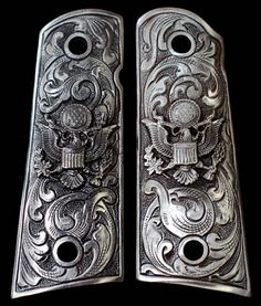 PEWTER 1911 GUN Grips Engraved Army Eagle Scroll by SouvenirPatch