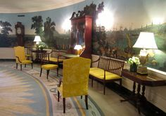 Diplomatic Reception Room, the White House, with 1830s French wallpaper scenes