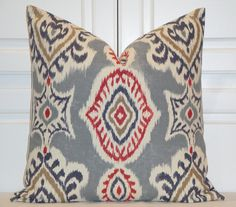 IKAT Decorative Pillow Cover Red Pillow by TurquoiseTumbleweed