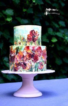 Buttercream painted cake by Katarzynka