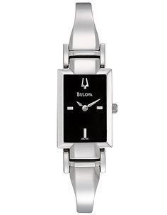 Bulova Ladies Bangle-Style Dress Watch - Black Dial - Stainless Steel