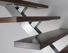 #Espiral Modern Stair Railing, Stair Railing Design, Stair Handrail, Staircase Railings, Modern Stairs, Stairways, Steel Stairs, Wood Stairs, House Stairs