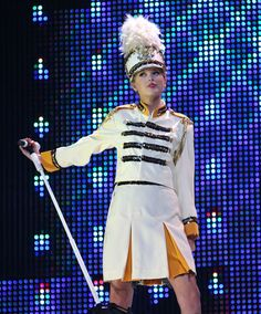 Taylor Swift in her marching band uniform at New York's Madison Square Garden on Aug. 27, 2009