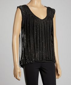 Look what I found on #zulily! Black Shimmer Distressed V-Neck Top by Black Hearts Brigade #zulilyfinds