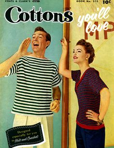 Vintage 1955, crochet, free patterns, Cottons You'll Love | J. & P. Coats - Clark's O.N.T. Book No. 313