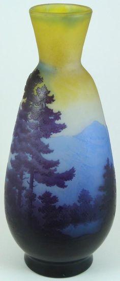 EMILE GALLE CAMEO ART GLASS VASE DEPICTING TREES c.1875-1910