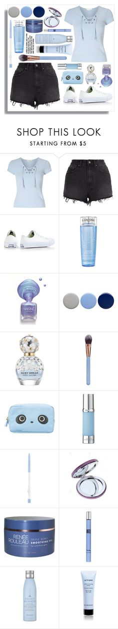 """""""Sky Blue Shirt"""" by rose-chan-needs-a-life ❤ liked on Polyvore featuring Miss Selfridge, Ksubi, Converse, Lancôme, Burberry, Marc Jacobs, Luxie, Anya Hindmarch, La Prairie and Thierry Mugler"""