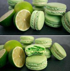 Smukke macarons med en fantastisk sød og syrlig smag af lime.