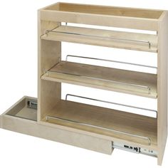 """Base Cabinet Pullout. 5"""" x 21"""" x 24"""". Featuring 100# full extension ball bearing slides, adjustable shelves, and clear UV finish. Species: Hard Maple. Ships assembled with removeable shelves and shelf supports. Designed to be installed inside an existing cabinet."""