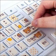 I wish my laptop would work. I really want these stickers! ❤ Rilakkuma Keyboard…