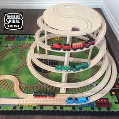 Table-Top Spiral by Mountain Spiral Railway! The ultimate natural wood train track accessory compatible with Thomas, Brio and Ikea sets! Train Table, A Table, Lego Table, Ikea, Autocad, Crossover, Wooden Train, Baltic Birch Plywood, Custom Cabinets