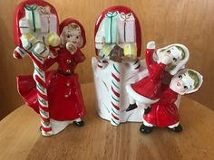 Christmas vintage lady figurine with candy cane mailbox (unmarked), and little girl candy cane mailbox planter made by HF Co Japan