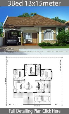 Home design plan with 3 bedrooms - Home Design with Plansearch Home design plan with 3 bedrooms.House description:One Car Parking and gardenGround Level: Living room, 3 Bedrooms, Dining room, Kitchen Model House Plan, House Layout Plans, Family House Plans, Dream House Plans, Flat House Design, Simple House Design, House Front Design, Modern Bungalow House, Bungalow House Plans