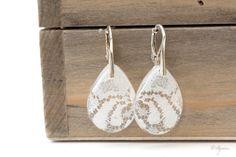 Bridal drop earrings -Boho Weddings jewelry -Vintage earrings -Lace earrings