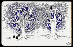 trees intertwined doodle by Boz Schurr