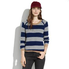 Simple Cashmere Waffle Sweater in Stripe - JCrew Madewell