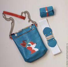 """Купить Набор """"Косуля"""": кожаная сумка планшет, кожаный кошелек, ремень - синий, рисунок"""