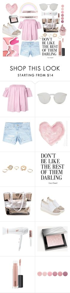 """""""Add Some Flair: Ruffled Tops"""" by karinravasio ❤ liked on Polyvore featuring Milly, Illesteva, rag & bone/JEAN, Shabby Chic, GUESS, T3, Burberry, MAC Cosmetics and Deborah Lippmann"""