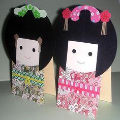 kids craft #kids japanese kids craft kokeshi dolls on card