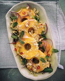 sprouted summer salad with pineapple, sprouted quinoa, red onion, mint, cashews and chili pepper