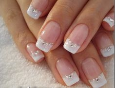 Classic French Manicure with a twist - very pretty and feminine Manicura boda uñas Cute Nails, Pretty Nails, My Nails, Prom Nails, French Manicure Designs, Nail Art Designs, Pedicure Designs, French Nails, French Manicures