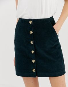 Find the best selection of Warehouse a-line cord mini skirt with button through in green. Shop today with free delivery and returns (Ts&Cs apply) with ASOS! Skirt Fashion, Fashion Outfits, Cute Lazy Outfits, Button Skirt, Corduroy Skirt, Fashion Essentials, Green Fashion, Clothing Items, Autumn Winter Fashion