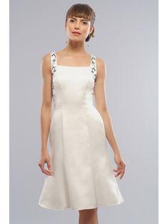 Roamnticn White Satin Square Neckline Short Bridesmaid Dresses