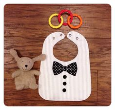 Black and White Tuxedo Baby Bib Boy Gift MADE TO by AlexAndRiaBaby, $18.00