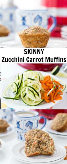 Filled with spiralized zucchini and carrots, whole wheat flour and natural sweeteners, these zucchini carrot muffins are perfect for a healthy breakfast.