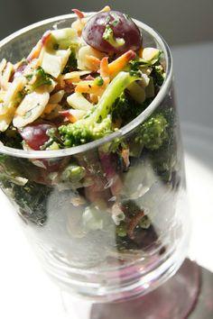 FooDabbler -creamy broccoli and red grape carrot salad