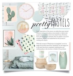 """""""Pretty Pastels"""" by lillyluvs ❤ liked on Polyvore featuring interior, interiors, interior design, home, home decor, interior decorating, Fasade, Merola, Mikmax and Slant"""