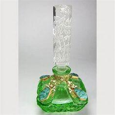 Czech Jeweled Perfume Bottle Green with Malachite Glass ...