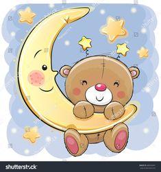 Teddy Bear on the moon. Cute Cartoon Teddy Bear on the moon royalty free illustration Buy Teddy Bear, Teddy Bear Cartoon, Cute Teddy Bears, Teddy Bear Drawing, Teddy Bear Images, Cute Cartoon Girl, Baby Painting, Shower Bebe, Tatty Teddy