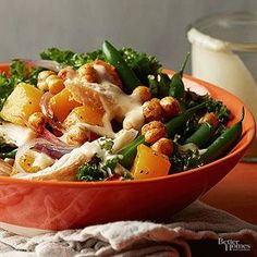 This fresh bowl is filled with good-for-you veggies like kale, green beans, and butternut squash./