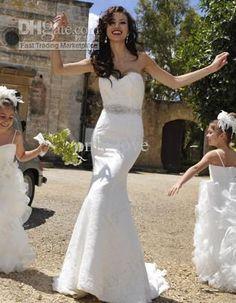 Wholesale Elegant Mermaid Wedding Dresses Sweetheart Sleeveless Backless Ruffles Beaded Crystal Belt Chapel Train Bridal Dress Demetrios 1443, $162.4-179.2/Piece | DHgate