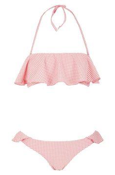 So pretty! Love this pink and white ruffle gingham #bikini. Frill Bikini, Bikini Swimwear, Pink Bikini, I Need Vitamin Sea, Summer Outfits, Cute Outfits, Cute Bathing Suits, Cute Swimsuits, Bathing Beauties