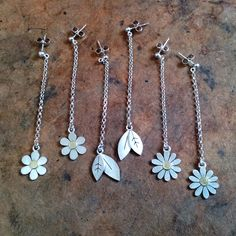 Earrings, daisy, aster and leaves, by Diana Greenwood www.diana-greenwood.com