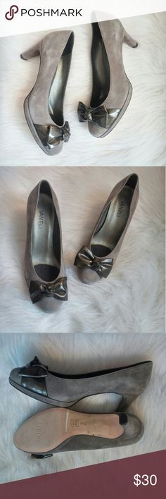 Vaneli Suede Bow Pumps 6M Never worn! Excellent condition. Some lighter marks from storage great neutral gray color. Leather upper and sole. Approx 2 inch heel.  Bundle for best deals! Hundreds of items available for discounted bundles! Bundle offers welcome.   Follow on IG: @the.junk.drawer Vaneli Shoes Heels