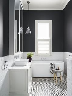Get Inspired with 20 Luxury Black and White Bathroom Design Ideas Stunning Black and White Subway Tiles Bathroom Design Bathroom Tile Designs, Bathroom Renos, Bathroom Colors, Bathroom Interior Design, Bathroom Renovations, Bathroom Ideas, Bathroom Makeovers, Bathroom Cabinets, Bathroom Organization