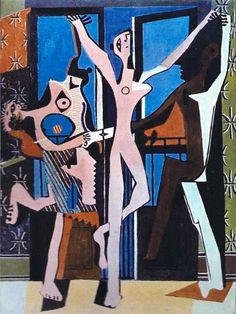 """""""As Três Dançarinas"""", de Pablo PICASSO A pintura é uma cena altamente abstrata, que apresenta três figuras distorcidas dançando a frente de um conjunto de portas-balcões, através dois quais é possível identificar o mar e um barranco arenoso. A figura mais notável da obra é a forma feminina à esquerda, que arqueia as costas em uma espécie de dança enquanto mostra seus dentes """"carnívoros""""."""