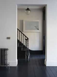 Classy black painted wood floor with stark contrast white walls.  Looks great.