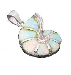 Conch Shell Design Pendant set with Created Opals in Sterling Silver