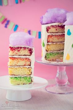 April Showers Cake with Cotton Candy on the top and sprinkles in the batter. Fun and easy to do.