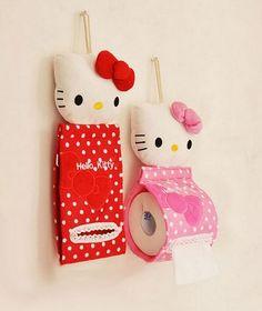 plush hello kitty creative hanging tissue box paper holder