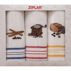 Set kuchynských utierok s farebnými čiarkami - domtextilu. Towel
